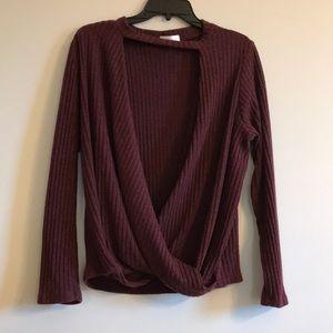 Maroon open front sweater